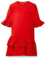 Alexander McQueen Ruffled Wool And Silk-blend Mini Dress - Red