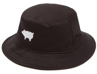 Thom Browne Pig-embroidered Bucket Hat - Black