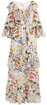 Borgo de Nor margaux garden-print silk dress white