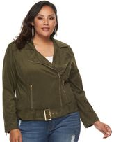 JLO by Jennifer Lopez Plus Size Faux-Suede Moto Jacket