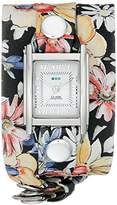 La Mer Women's LMSTWEXL018 Analog Watch with Magnolia Print Wrap Band