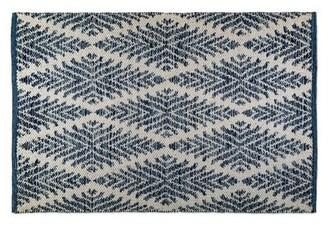 Gracie Oaks Waynesville Diamond Handmade Dhurrie Cotton Blue/White Area Rug