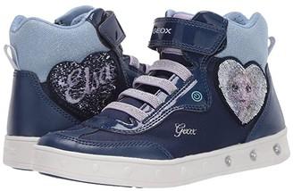 Geox Kids Frozen Skylin 6 (Little Kid/Big Kid) (Navy/Lilac) Girl's Shoes