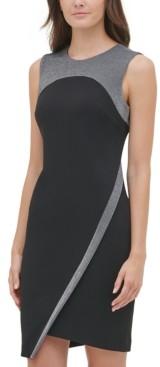 Tommy Hilfiger Metallic-Trim Asymmetrical Sheath Dress