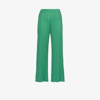 Pleats Please Issey Miyake Womens Green High Waist Plisse Cropped Trousers