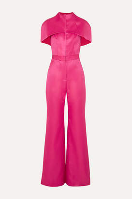 Brandon Maxwell Cape-effect Wool And Silk-blend Satin Jumpsuit - Pink