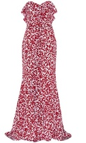 Oscar de la Renta Printed silk strapless dress
