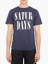 Saturdays Surf NYC Navy Logo Motif Cotton T-Shirt