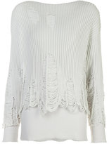 Yang Li destroyed effect jumper - women - Cotton/Polyamide - 40