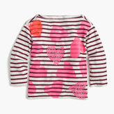 J.Crew Girls' tossed hearts striped T-shirt