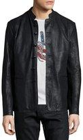 John Varvatos Band-Collar Leather Jacket, Black