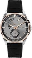 Pierre Petit Men's P-793B Le Mans Rose Gold IP Stainless Steel Luminous Black Anti Allergic Genuine Leather Big Date Watch