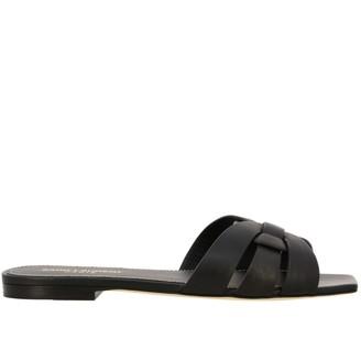 Saint Laurent Tribute Flat Leather Sandal