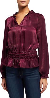 Laundry by Shelli Segal Long-Sleeve Tassel-Tie Smocked Peplum Blouse