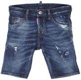 DSQUARED2 Splatter Painted Stretch Denim Shorts