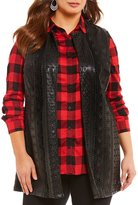 Peter Nygard Plus Faux Leather Embroidered Long Vest