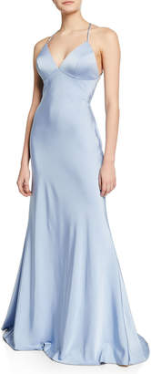 Faviana V-Neck Cross-Back Stretch-Faille Slip Gown