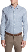 Brioni Gingham Check Sport Shirt, Gray/White