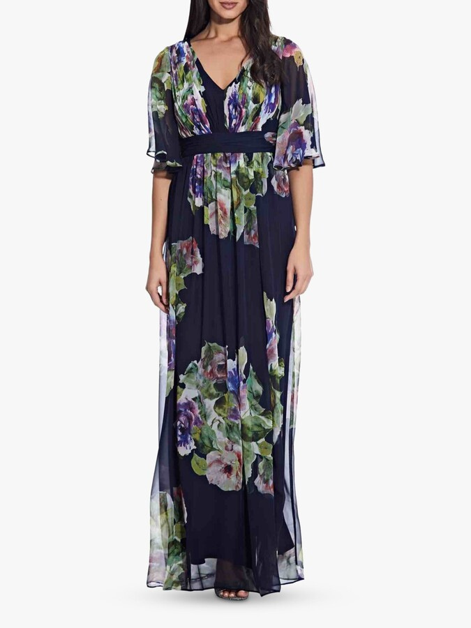 Adrianna Papell Chiffon Maxi Gown, Navy