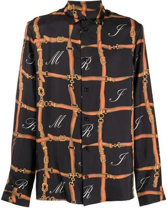 Amiri Belt Print Long-Sleeve Silk Shirt