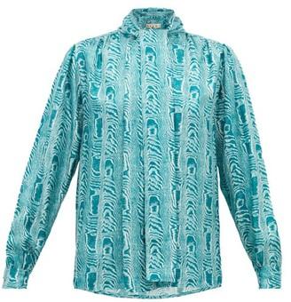 Marni Neck-tie Moire-print Silk-twill Blouse - Green Multi