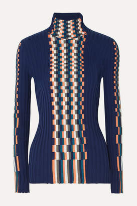 Loewe Ribbed Intarsia Cotton Turtleneck Sweater - Navy