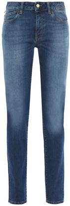Just Cavalli Printed Faded Mid-rise Slim-leg Jeans