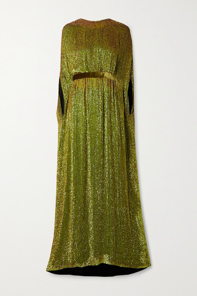 Reem Acra Cape-effect Velvet-trimmed Sequined Chiffon Gown - Chartreuse