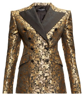 Dolce & Gabbana Double-breasted Floral-brocade Jacket - Womens - Gold Multi