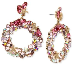 Betsey Johnson Gold-Tone Starfish & Crystal Drop Hoop Earrings