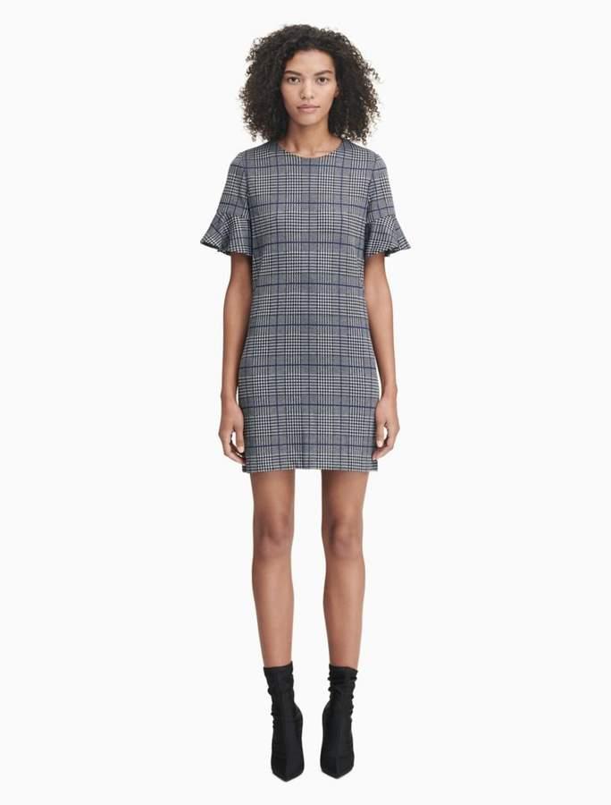 Calvin Klein plaid flutter sleeve sheath dress