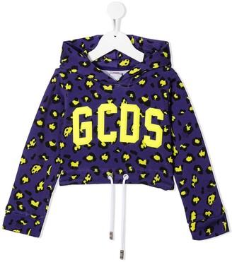 Gcds Kids Leopard Print Logo Cropped Hoodie