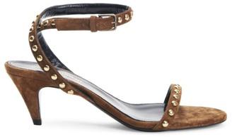 Saint Laurent Kiki Studded Suede Ankle-Strap Sandals