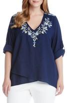 Karen Kane Plus Size Women's Embroidered Asymmetrical Wrap Front Top