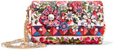 Dolce & Gabbana Escape Anna Embellished Printed Brocade Shoulder Bag - Red