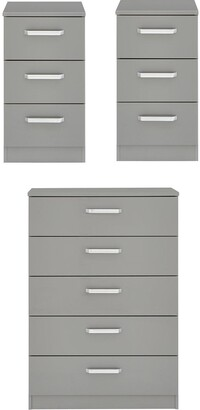Sanford High Gloss Ready Assembled 3 Piece Package - Chest of 5 Drawers and 2 Bedside Chests