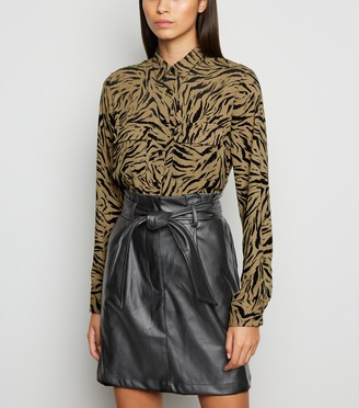 New Look Coated Leather-Look High Waist Skirt