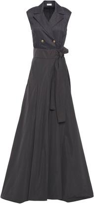 Brunello Cucinelli Wrap-effect Herringbone Cotton-blend And Taffeta Gown