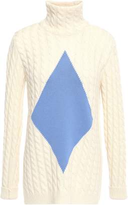 Tory Burch Intarsia Cable-knit Wool-blend Turtleneck Sweater