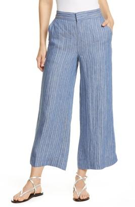 Brochu Walker Landon Stripe Crop Linen Pants