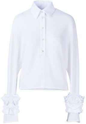 Allora Cropped Shirt With Ruffled Sleeves