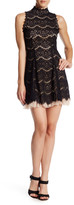 Trixxi Eyelash Lace Mock Neck Mini Dress