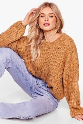 Nasty Gal Womens Knit Back and Wait Balloon Sleeve Jumper - Beige - S