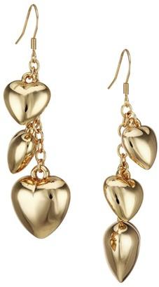 Kenneth Jay Lane 22K Goldplated Heart Dangle Drop Earrings