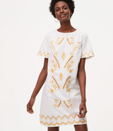 LOFT Petite Gilded Garden Shift Dress
