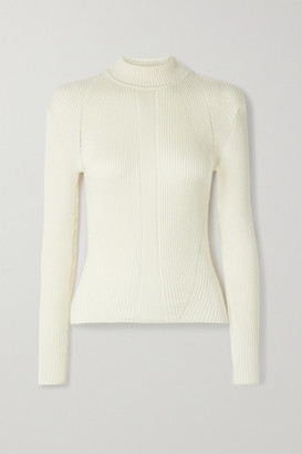 BITE Studios Net Sustain Ribbed Organic Cotton And Silk-blend Sweater - Off-white