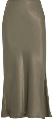 Iris & Ink Fluted Satin Midi Skirt