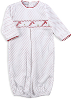 Red Pin Dot Candy Cane Smocked Pima Gown - Infant