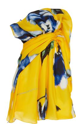 Carolina Herrera Gathered Printed Silk Mini Dress