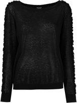 Twin-Set boat neck ruffled blouse - women - Cotton/Linen/Flax - S